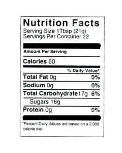 1 lb Nutritional Label - 100 Pack