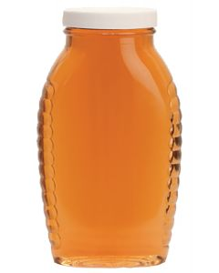 2 lb Plastic Honey Oval Bottles with Lids - 12 Pack
