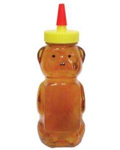 1 1/2 lb Clear Panel Squeeze Bear with Spout Cap Lids - 12 Pack