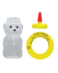 2 lb Opaque Squeeze Bear with Spout Cap Lids & Collars - 12 Pack