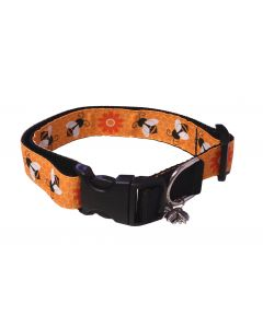 "Dog Collar Big Bees/Black - Medium 12"" - 18"""