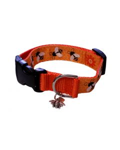 "Dog Collar Big Bees/Pumpkin - Medium 12"" - 18"""