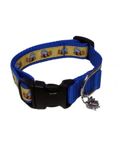 """Dog Collar Little Bees/Royal Blue - Small 10"""" - 15"""""""