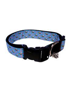 "Dog Collar Blue and Pink/Black - Medium 12"" - 18"""