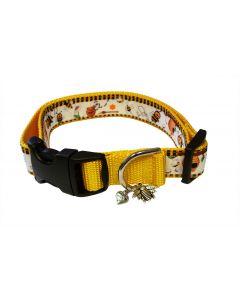 "Dog Collar Honey Pots/Yellow - Large 15"" - 24"""