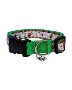 "Dog Collar Honey Pots/Green - Medium 12"" - 18"""