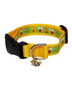 "Dog Collar Orange Bees and Hives/Yellow - Medium 12"" - 18"""
