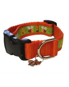 "Dog Collar Orange Bees and Hives/Pumpkin - Medium 12"" - 18"""