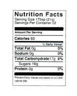 1 lb Nutritional Label - 100 Pack